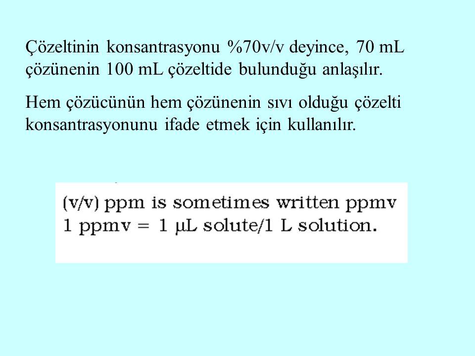 Çözeltinin konsantrasyonu %70v/v deyince, 70 mL çözünenin 100 mL çözeltide bulunduğu anlaşılır. Hem çözücünün hem çözünenin sıvı olduğu çözelti konsan