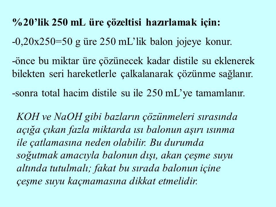 %20'lik 250 mL üre çözeltisi hazırlamak için: -0,20x250=50 g üre 250 mL'lik balon jojeye konur. -önce bu miktar üre çözünecek kadar distile su eklener