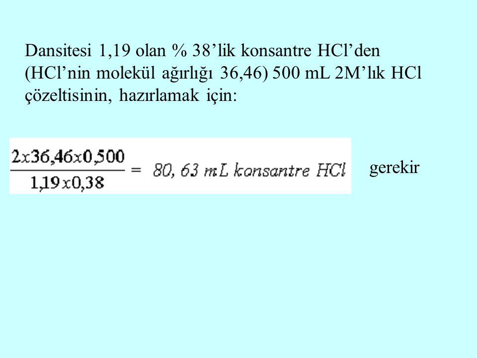 Dansitesi 1,19 olan % 38'lik konsantre HCl'den (HCl'nin molekül ağırlığı 36,46) 500 mL 2M'lık HCl çözeltisinin, hazırlamak için: gerekir