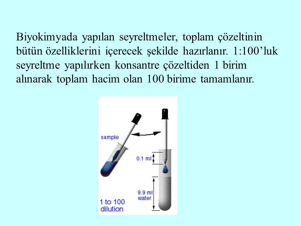 Biyokimyada yapılan seyreltmeler, toplam çözeltinin bütün özelliklerini içerecek şekilde hazırlanır. 1:100'luk seyreltme yapılırken konsantre çözeltid