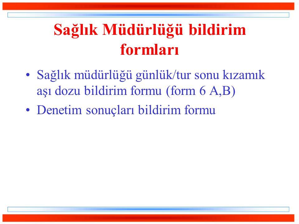 Sağlık Müdürlüğü bildirim formları Sağlık müdürlüğü günlük/tur sonu kızamık aşı dozu bildirim formu (form 6 A,B) Denetim sonuçları bildirim formu