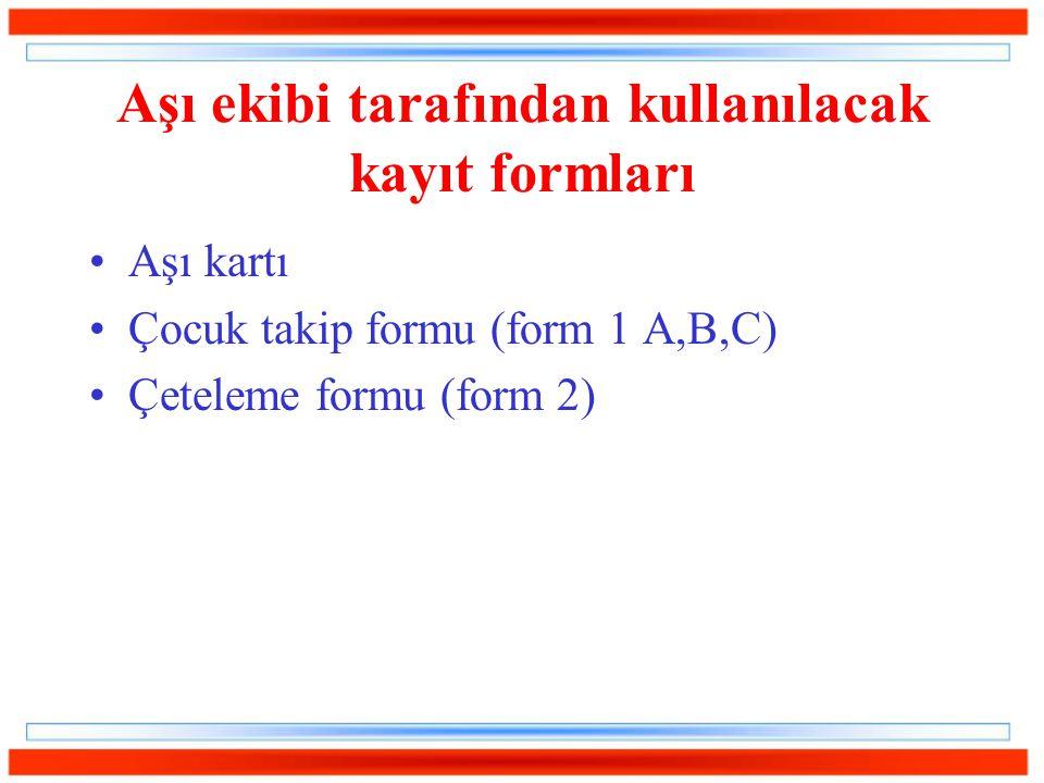 Aşı ekibi tarafından kullanılacak kayıt formları Aşı kartı Çocuk takip formu (form 1 A,B,C) Çeteleme formu (form 2)