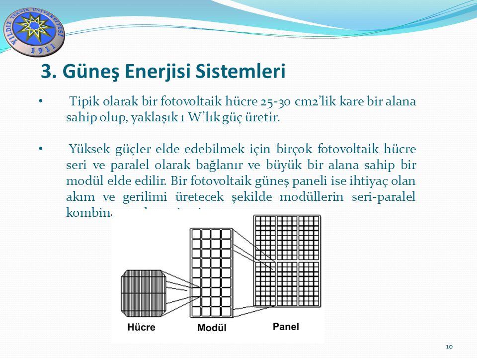 3. Güneş Enerjisi Sistemleri 10 Tipik olarak bir fotovoltaik hücre 25-30 cm2'lik kare bir alana sahip olup, yaklaşık 1 W'lık güç üretir. Yüksek güçler