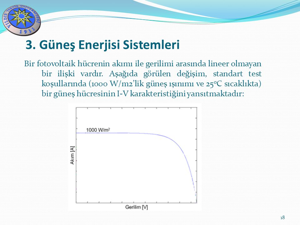 3. Güneş Enerjisi Sistemleri 18 Bir fotovoltaik hücrenin akımı ile gerilimi arasında lineer olmayan bir ilişki vardır. Aşağıda görülen değişim, standa