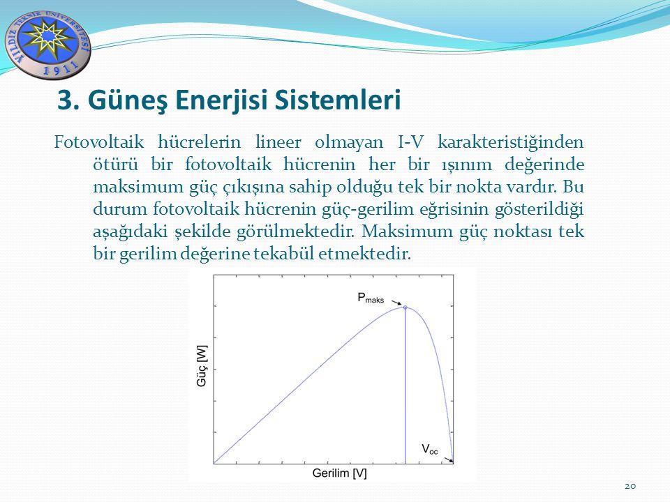 3. Güneş Enerjisi Sistemleri 20 Fotovoltaik hücrelerin lineer olmayan I-V karakteristiğinden ötürü bir fotovoltaik hücrenin her bir ışınım değerinde m