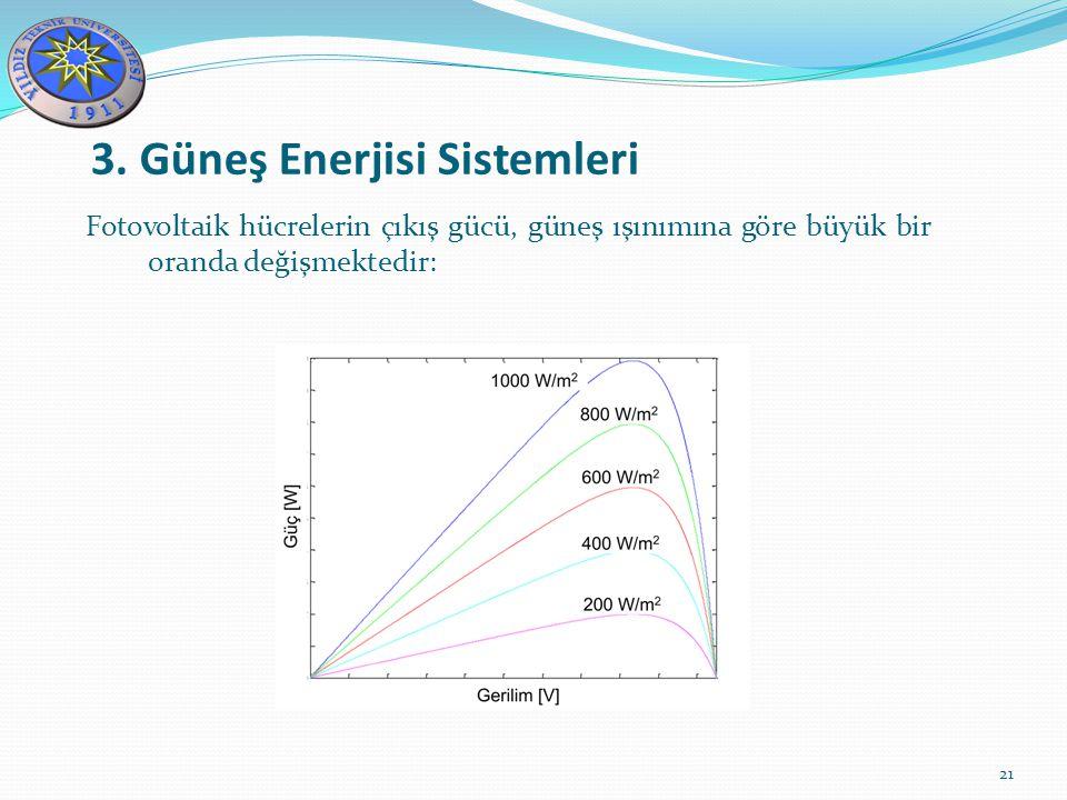 3. Güneş Enerjisi Sistemleri 21 Fotovoltaik hücrelerin çıkış gücü, güneş ışınımına göre büyük bir oranda değişmektedir:
