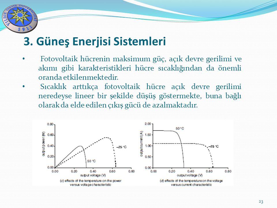 3. Güneş Enerjisi Sistemleri 23 Fotovoltaik hücrenin maksimum güç, açık devre gerilimi ve akımı gibi karakteristikleri hücre sıcaklığından da önemli o