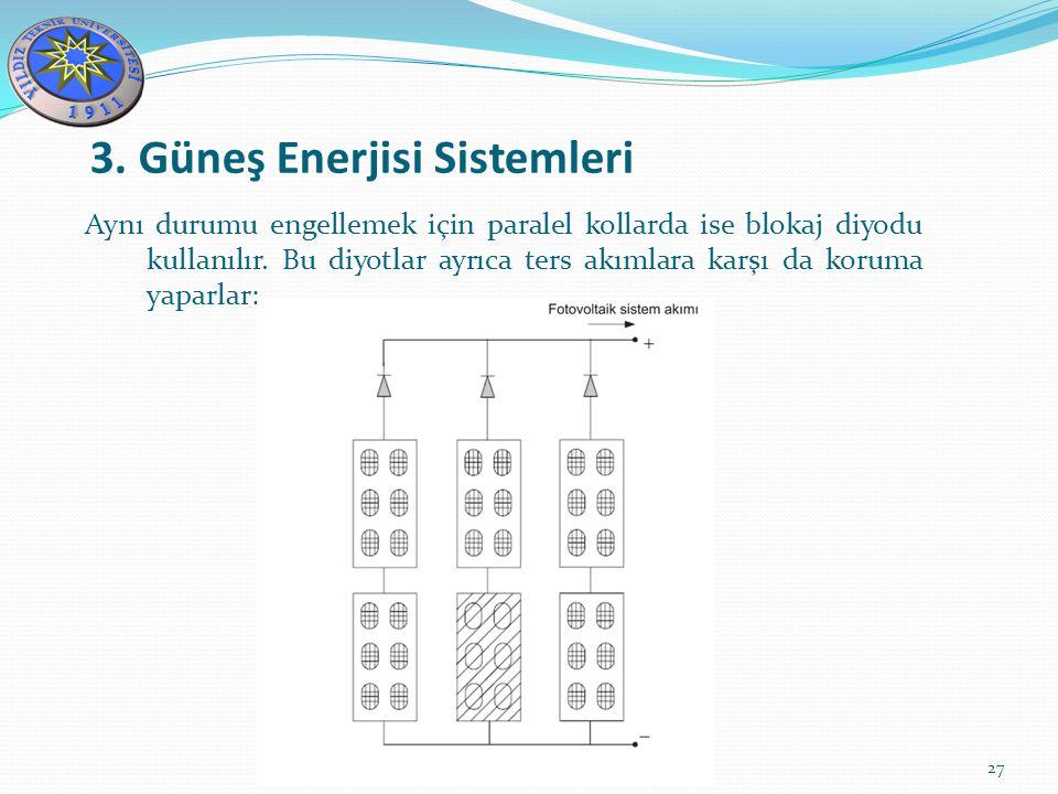 3. Güneş Enerjisi Sistemleri 27 Aynı durumu engellemek için paralel kollarda ise blokaj diyodu kullanılır. Bu diyotlar ayrıca ters akımlara karşı da k