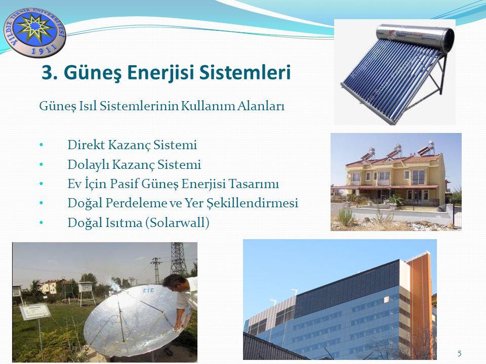 3. Güneş Enerjisi Sistemleri 5 Güneş Isıl Sistemlerinin Kullanım Alanları Direkt Kazanç Sistemi Dolaylı Kazanç Sistemi Ev İçin Pasif Güneş Enerjisi Ta