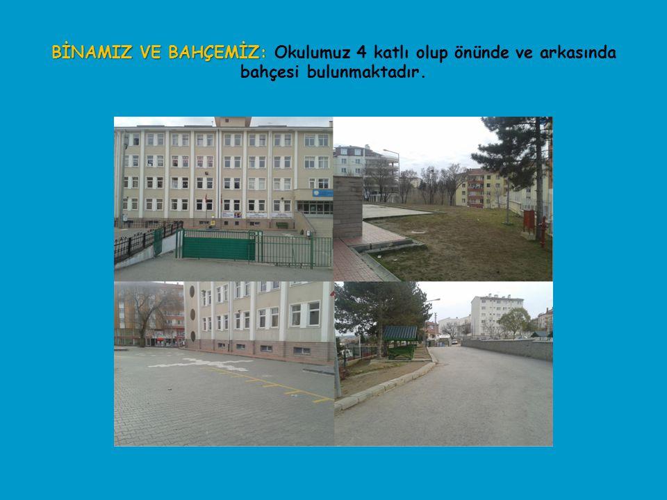 BİNAMIZ VE BAHÇEMİZ: BİNAMIZ VE BAHÇEMİZ: Okulumuz 4 katlı olup önünde ve arkasında bahçesi bulunmaktadır.