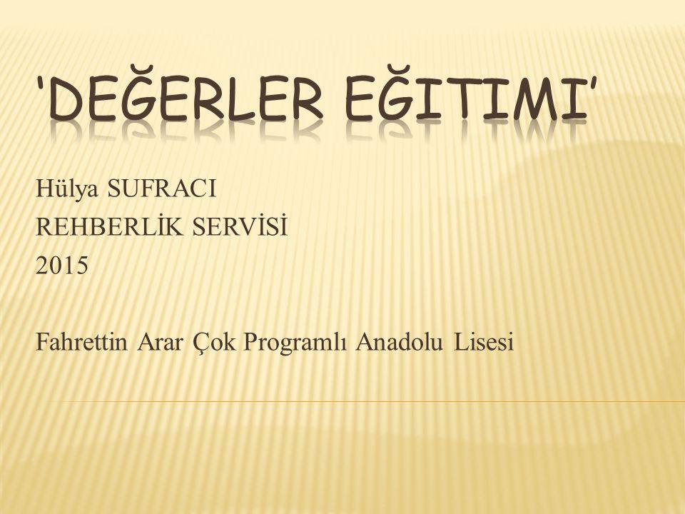 Hülya SUFRACI REHBERLİK SERVİSİ 2015 Fahrettin Arar Çok Programlı Anadolu Lisesi