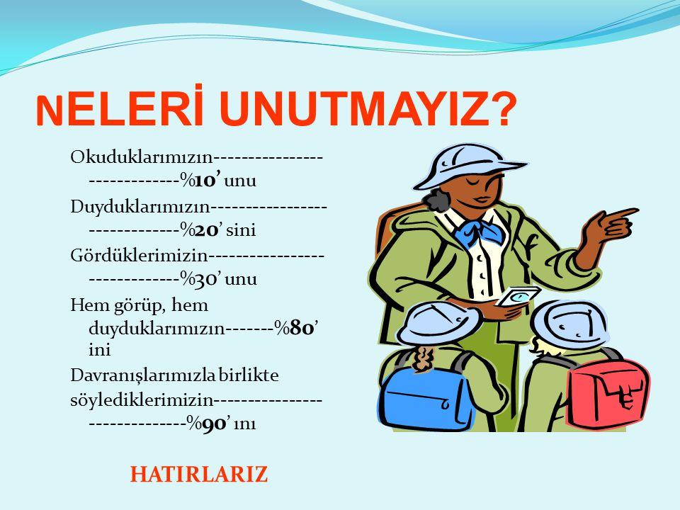 N ELERİ UNUTMAYIZ.
