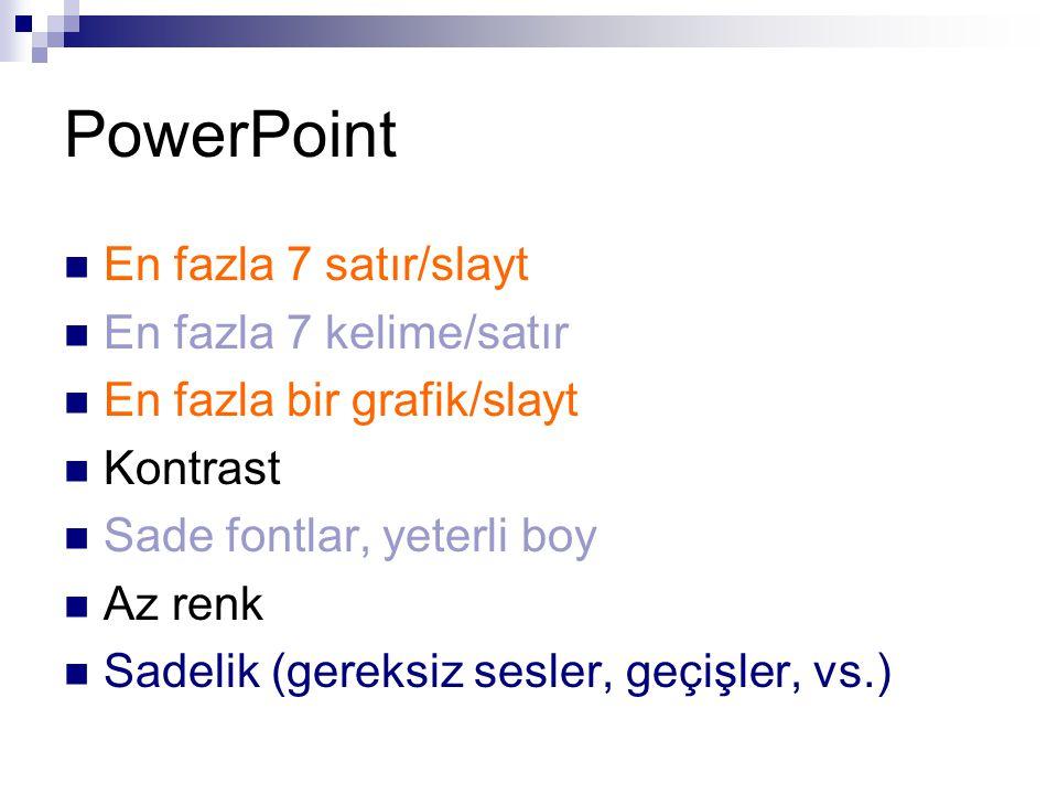 PowerPoint En fazla 7 satır/slayt En fazla 7 kelime/satır En fazla bir grafik/slayt Kontrast Sade fontlar, yeterli boy Az renk Sadelik (gereksiz sesler, geçişler, vs.)
