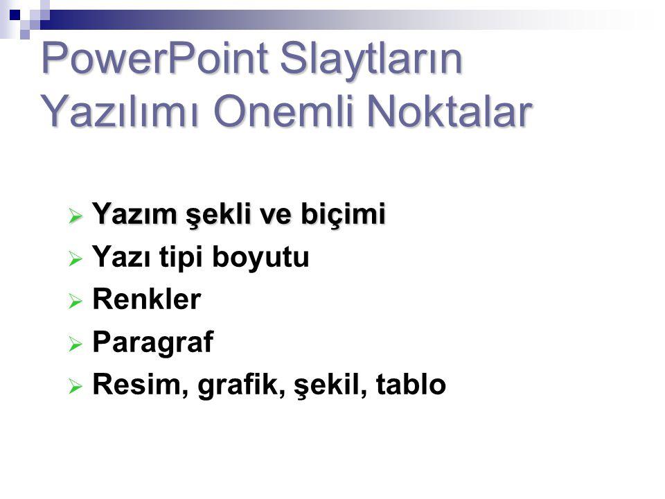 PowerPoint Slaytların Yazılımı Onemli Noktalar  Yazım şekli ve biçimi  Yazı tipi boyutu  Renkler  Paragraf  Resim, grafik, şekil, tablo