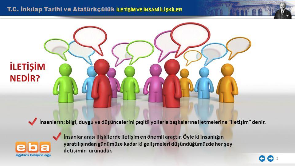 2 İnsanların; bilgi, duygu ve düşüncelerini çeşitli yollarla başkalarına iletmelerine iletişim denir.