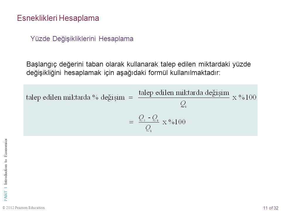 11 of 32 PART I Introduction to Economics © 2012 Pearson Education Başlangıç değerini taban olarak kullanarak talep edilen miktardaki yüzde değişikliğ