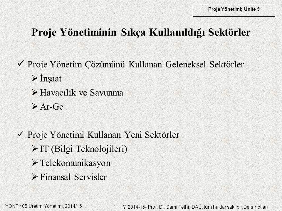 YONT 405 Üretim Yönetimi, 2014/15 © 2014-15- Prof. Dr. Sami Fethi, DAÜ, tüm haklar saklıdır;Ders notları Proje Yönetimi; Ünite 5 Proje Yönetiminin Sık