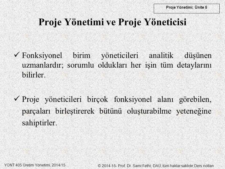 YONT 405 Üretim Yönetimi, 2014/15 © 2014-15- Prof. Dr. Sami Fethi, DAÜ, tüm haklar saklıdır;Ders notları Proje Yönetimi; Ünite 5 Proje Yönetimi ve Pro
