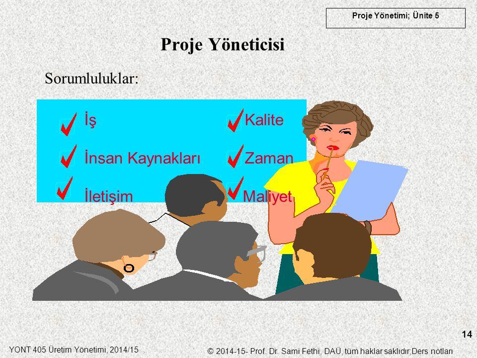 YONT 405 Üretim Yönetimi, 2014/15 © 2014-15- Prof. Dr. Sami Fethi, DAÜ, tüm haklar saklıdır;Ders notları Proje Yönetimi; Ünite 5 14 Proje Yöneticisi S