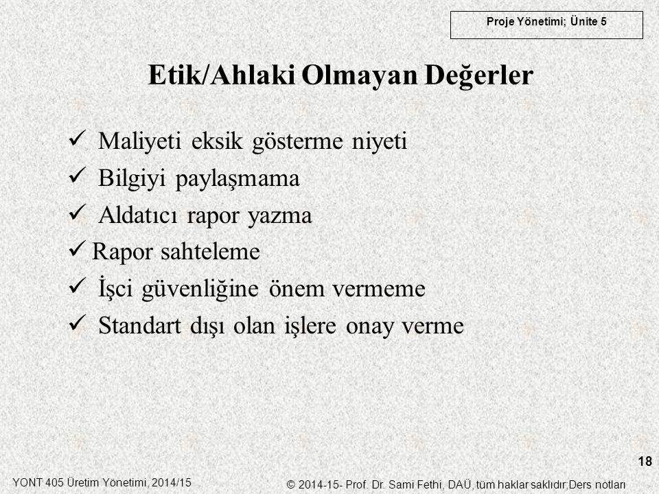 YONT 405 Üretim Yönetimi, 2014/15 © 2014-15- Prof. Dr. Sami Fethi, DAÜ, tüm haklar saklıdır;Ders notları Proje Yönetimi; Ünite 5 18 Maliyeti eksik gös