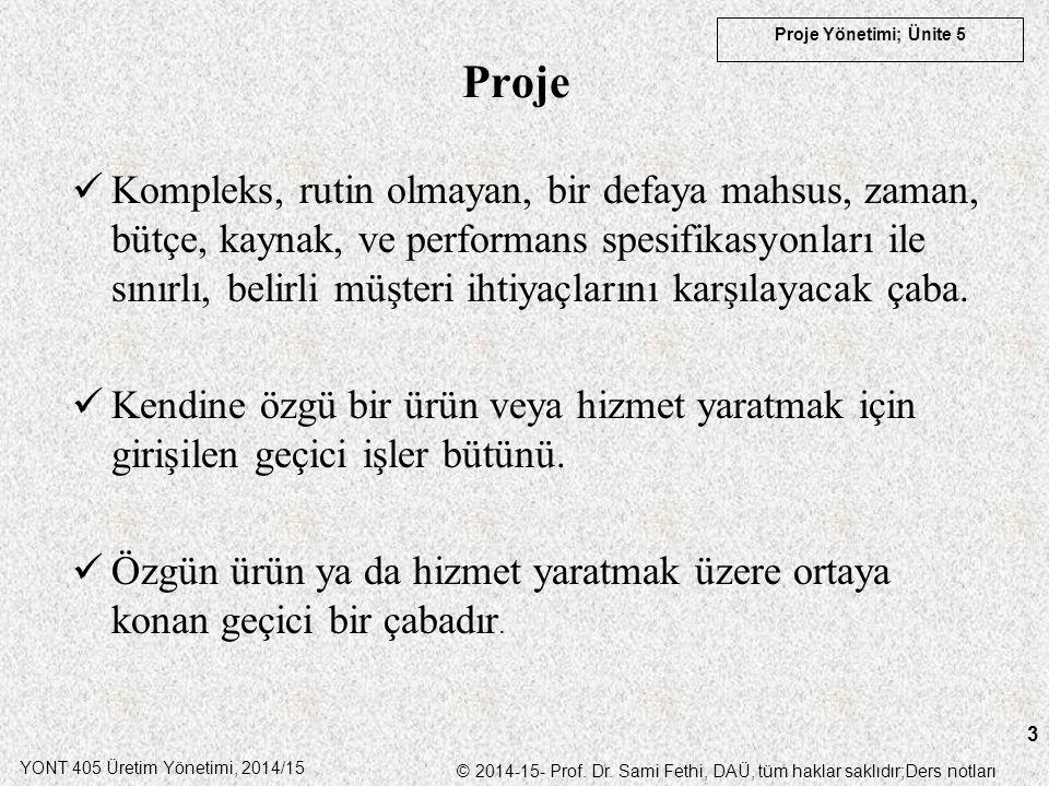 YONT 405 Üretim Yönetimi, 2014/15 © 2014-15- Prof. Dr. Sami Fethi, DAÜ, tüm haklar saklıdır;Ders notları Proje Yönetimi; Ünite 5 3 Proje Kompleks, rut