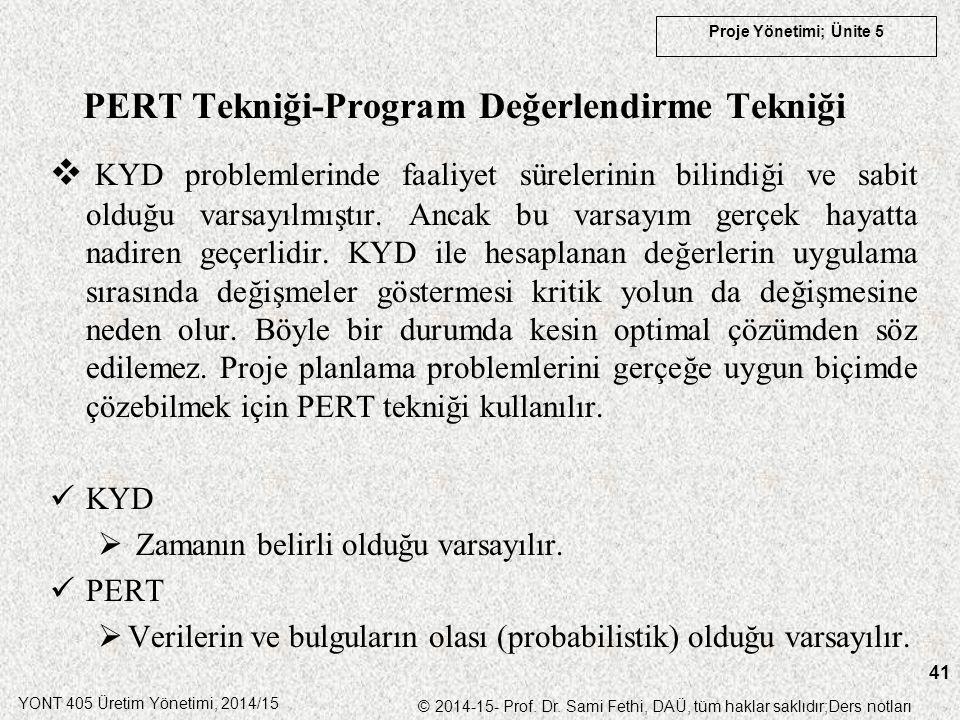 YONT 405 Üretim Yönetimi, 2014/15 © 2014-15- Prof. Dr. Sami Fethi, DAÜ, tüm haklar saklıdır;Ders notları Proje Yönetimi; Ünite 5 41 PERT Tekniği-Progr
