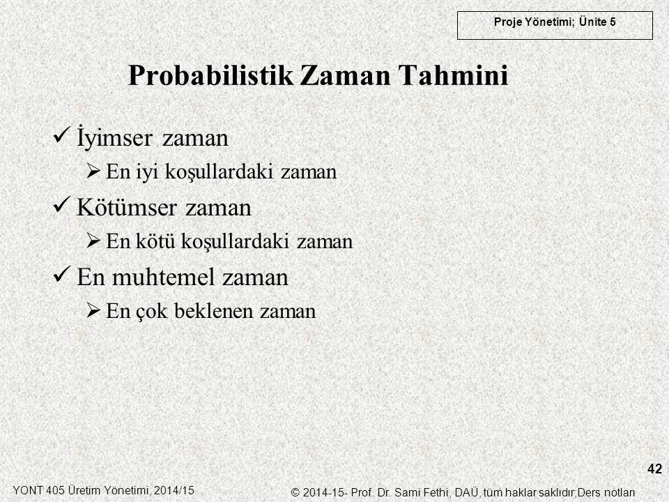 YONT 405 Üretim Yönetimi, 2014/15 © 2014-15- Prof. Dr. Sami Fethi, DAÜ, tüm haklar saklıdır;Ders notları Proje Yönetimi; Ünite 5 42 Probabilistik Zama