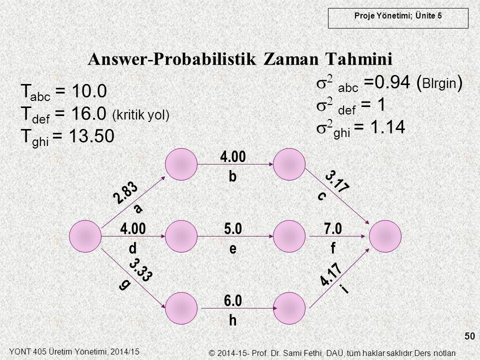 YONT 405 Üretim Yönetimi, 2014/15 © 2014-15- Prof. Dr. Sami Fethi, DAÜ, tüm haklar saklıdır;Ders notları Proje Yönetimi; Ünite 5 50 Answer-Probabilist
