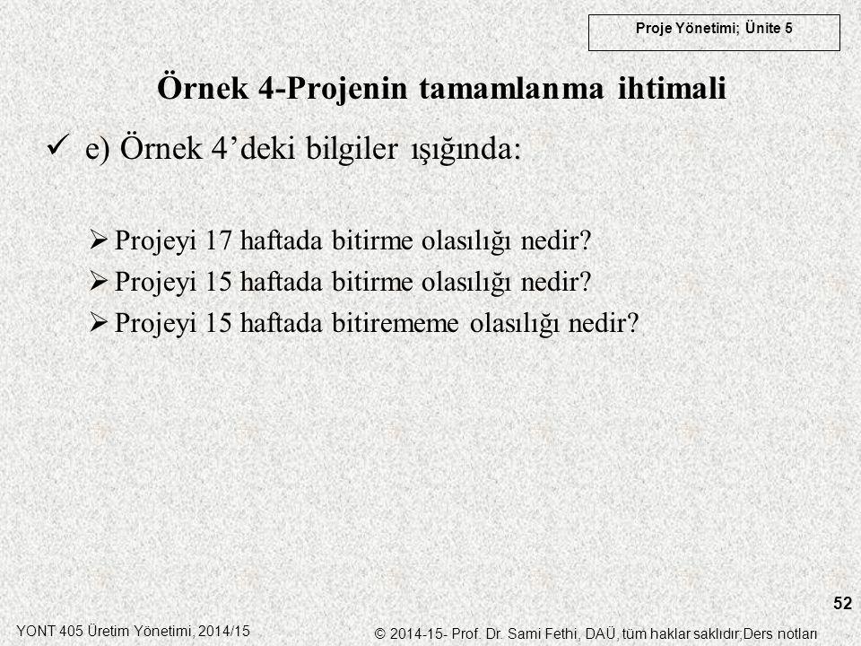 YONT 405 Üretim Yönetimi, 2014/15 © 2014-15- Prof. Dr. Sami Fethi, DAÜ, tüm haklar saklıdır;Ders notları Proje Yönetimi; Ünite 5 52 Örnek 4-Projenin t