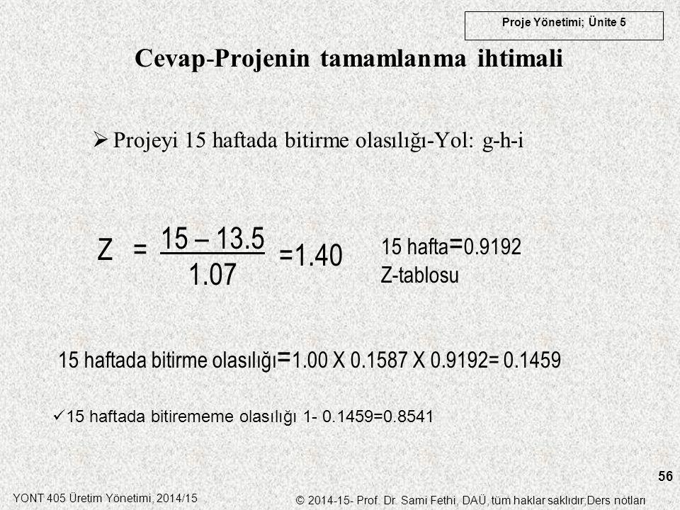 YONT 405 Üretim Yönetimi, 2014/15 © 2014-15- Prof. Dr. Sami Fethi, DAÜ, tüm haklar saklıdır;Ders notları Proje Yönetimi; Ünite 5 56  Projeyi 15 hafta