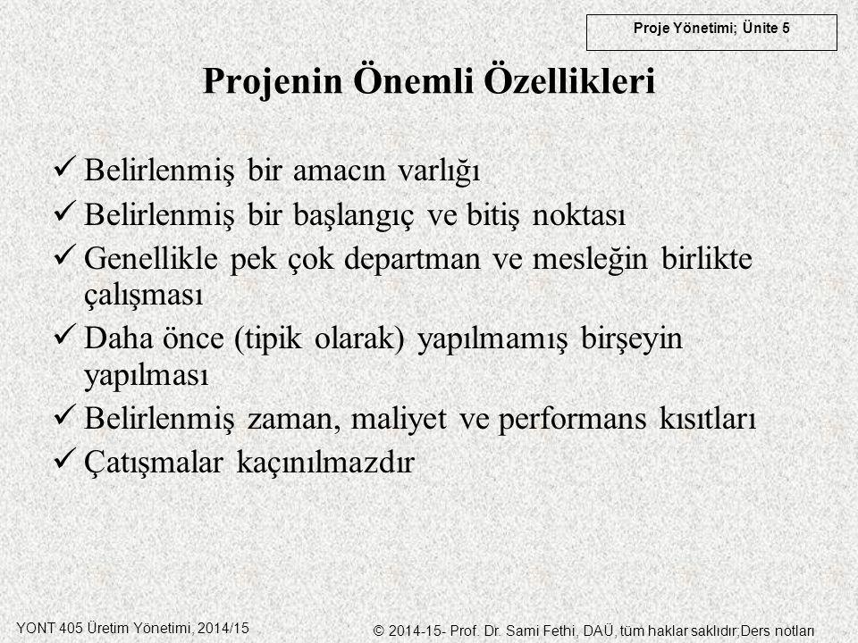 YONT 405 Üretim Yönetimi, 2014/15 © 2014-15- Prof. Dr. Sami Fethi, DAÜ, tüm haklar saklıdır;Ders notları Proje Yönetimi; Ünite 5 Projenin Önemli Özell