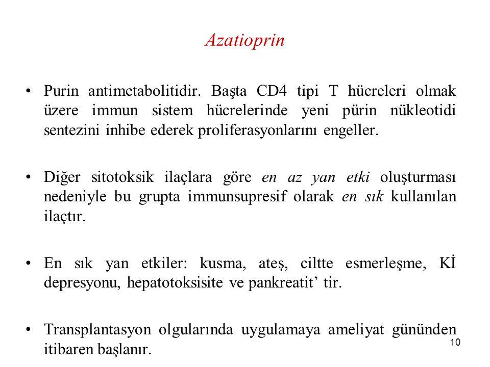 10 Azatioprin Purin antimetabolitidir. Başta CD4 tipi T hücreleri olmak üzere immun sistem hücrelerinde yeni pürin nükleotidi sentezini inhibe ederek