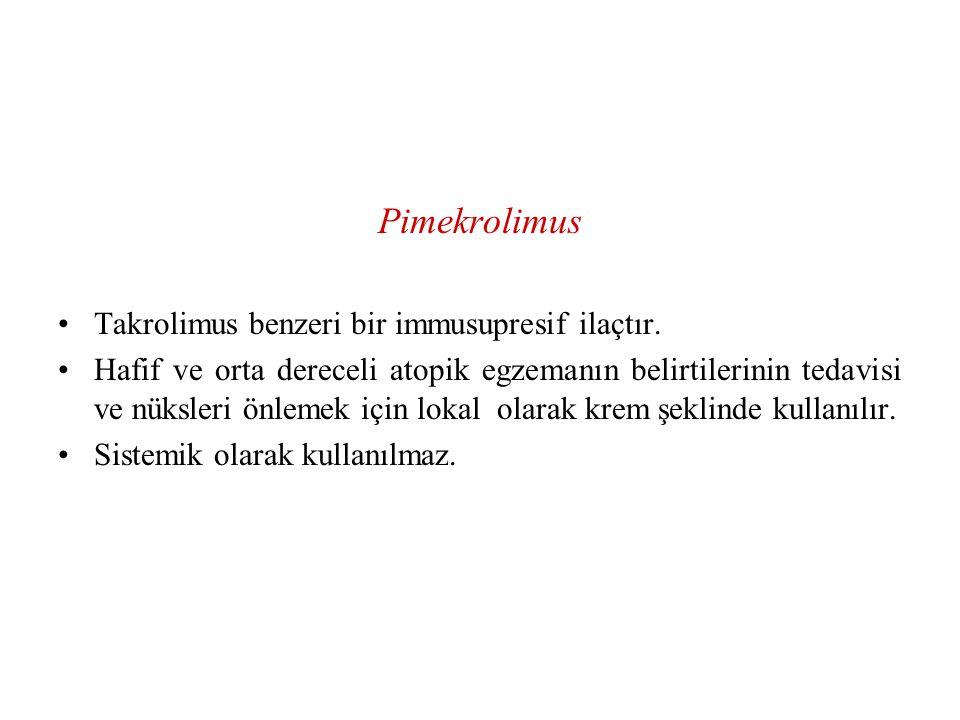 Pimekrolimus Takrolimus benzeri bir immusupresif ilaçtır. Hafif ve orta dereceli atopik egzemanın belirtilerinin tedavisi ve nüksleri önlemek için lok