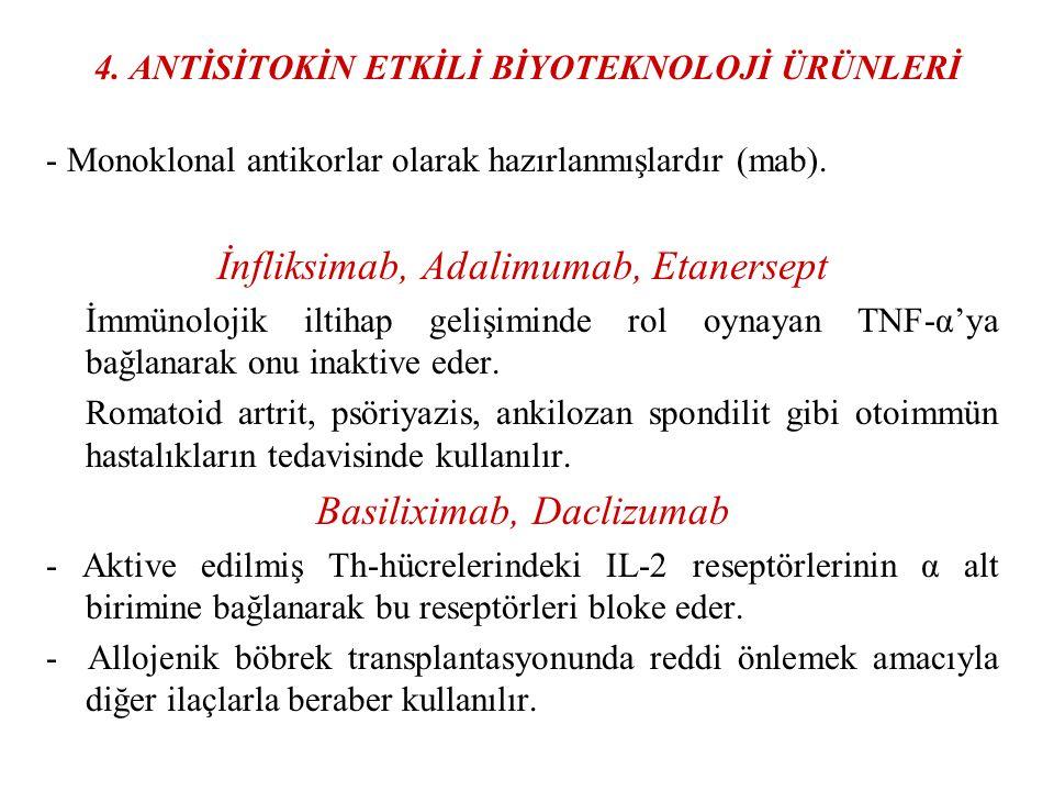 4. ANTİSİTOKİN ETKİLİ BİYOTEKNOLOJİ ÜRÜNLERİ - Monoklonal antikorlar olarak hazırlanmışlardır (mab). İnfliksimab, Adalimumab, Etanersept İmmünolojik i