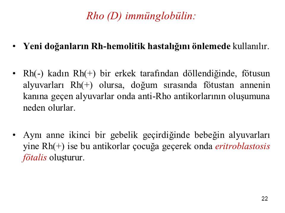22 Rho (D) immünglobülin: Yeni doğanların Rh-hemolitik hastalığını önlemede kullanılır. Rh(-) kadın Rh(+) bir erkek tarafından döllendiğinde, fötusun