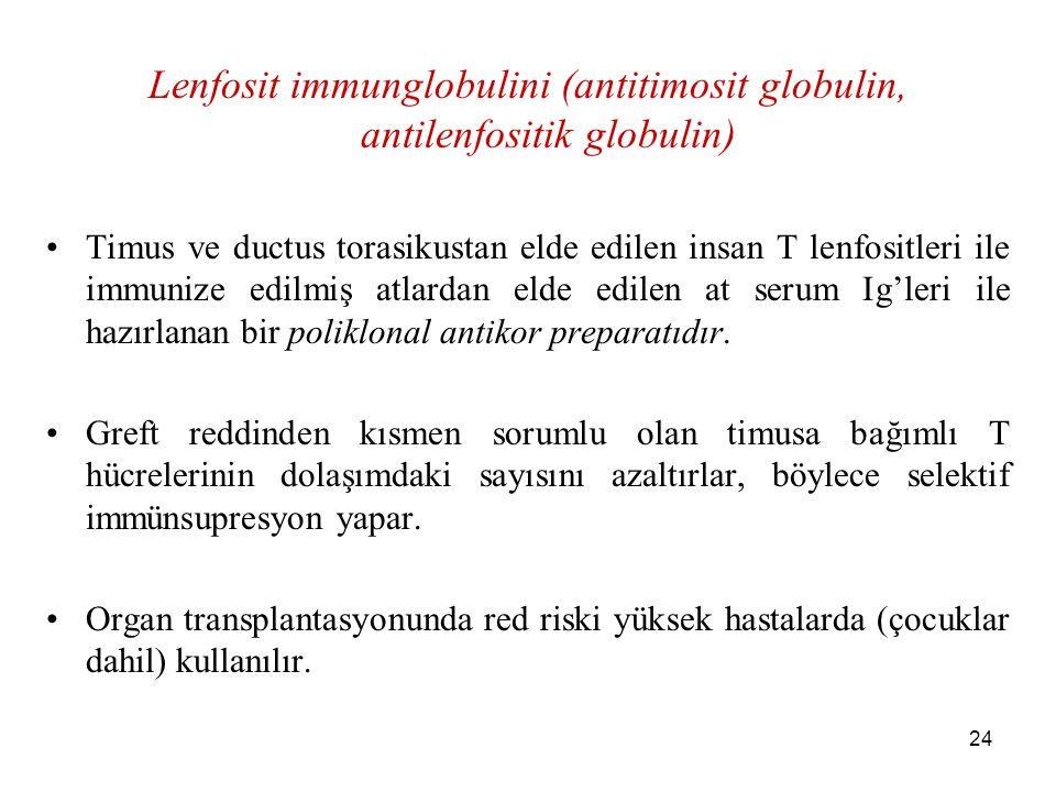 24 Lenfosit immunglobulini (antitimosit globulin, antilenfositik globulin) Timus ve ductus torasikustan elde edilen insan T lenfositleri ile immunize