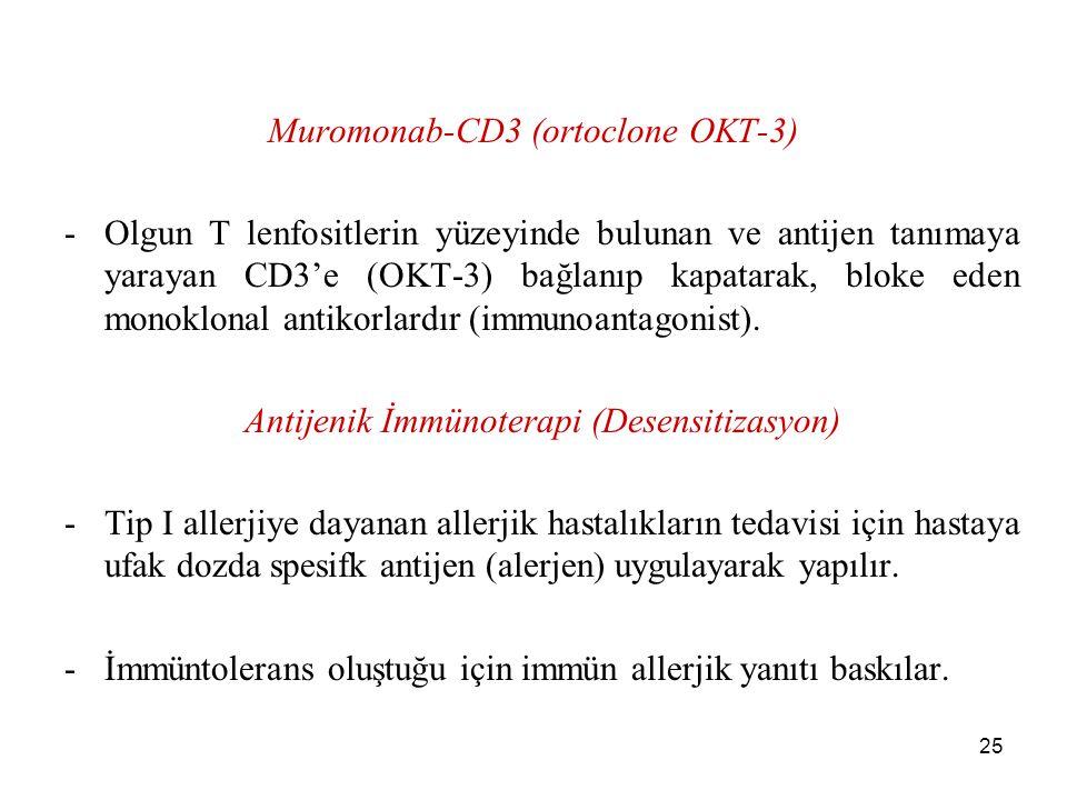 25 Muromonab-CD3 (ortoclone OKT-3) -Olgun T lenfositlerin yüzeyinde bulunan ve antijen tanımaya yarayan CD3'e (OKT-3) bağlanıp kapatarak, bloke eden m