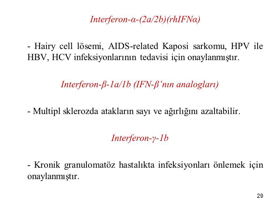 29 Interferon-α-(2a/2b)(rhIFNα) - Hairy cell lösemi, AIDS-related Kaposi sarkomu, HPV ile HBV, HCV infeksiyonlarının tedavisi için onaylanmıştır. Inte