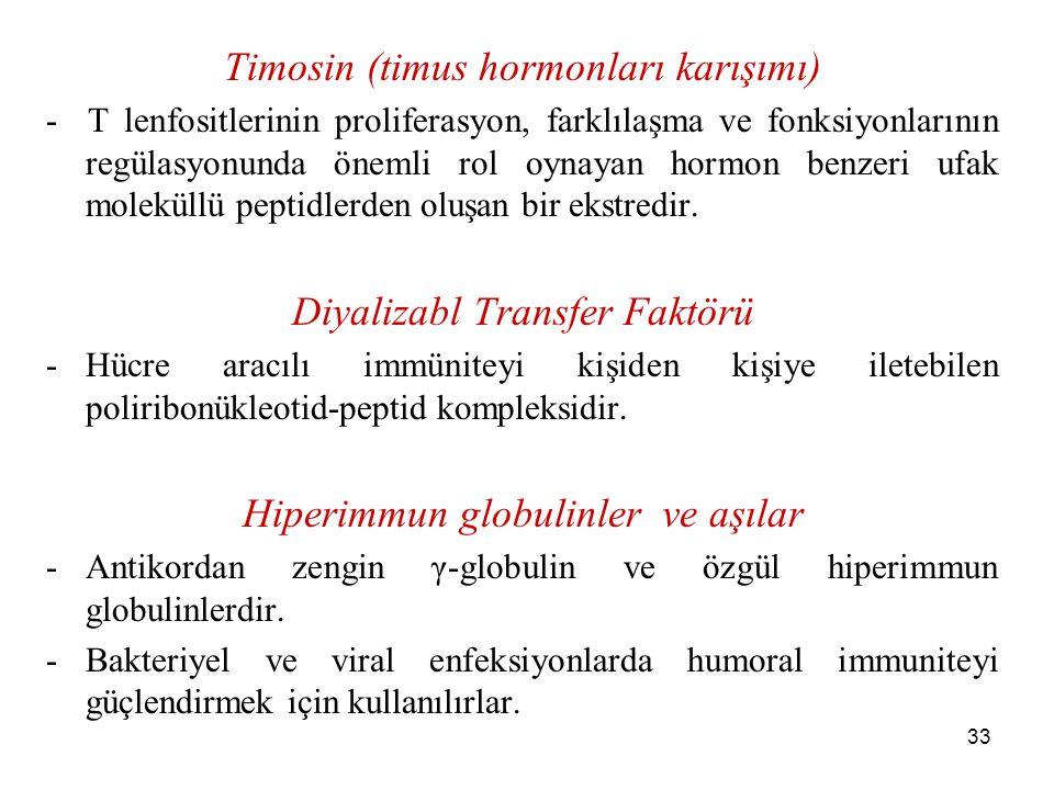 33 Timosin (timus hormonları karışımı) - T lenfositlerinin proliferasyon, farklılaşma ve fonksiyonlarının regülasyonunda önemli rol oynayan hormon ben