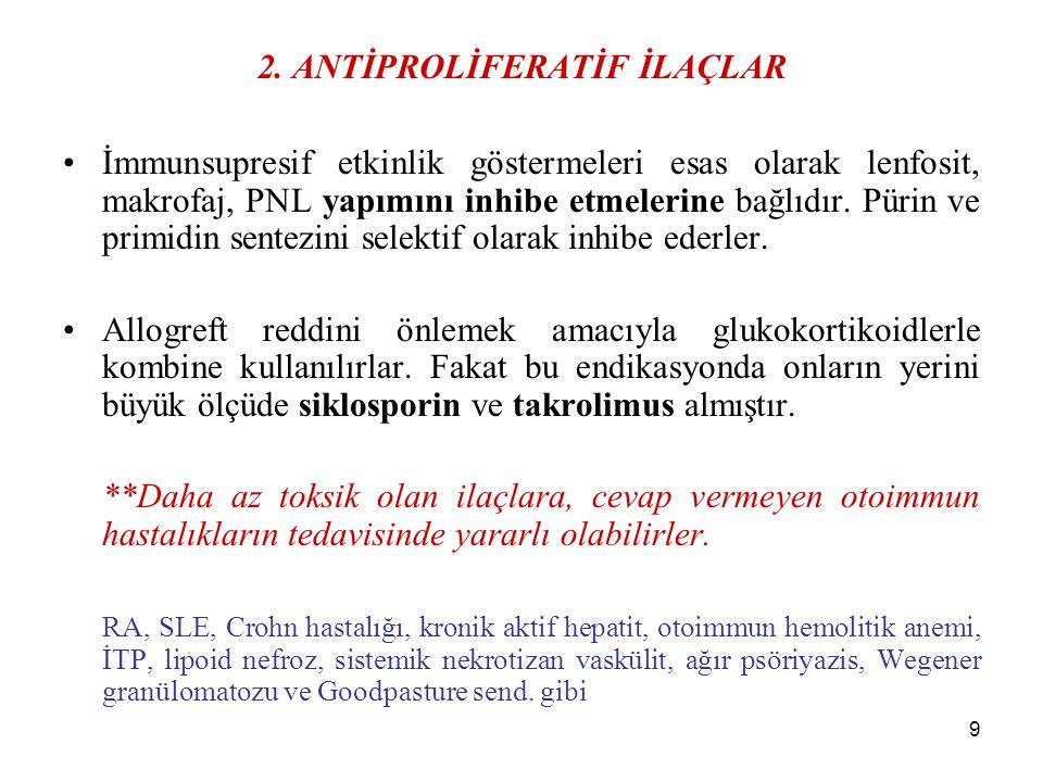 10 Azatioprin Purin antimetabolitidir.