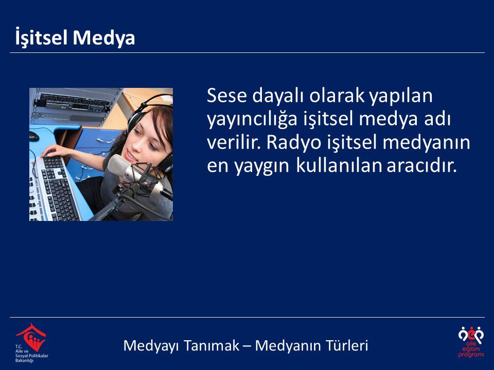 Medyayı Tanımak – Medyanın Türleri Sese dayalı olarak yapılan yayıncılığa işitsel medya adı verilir. Radyo işitsel medyanın en yaygın kullanılan aracı