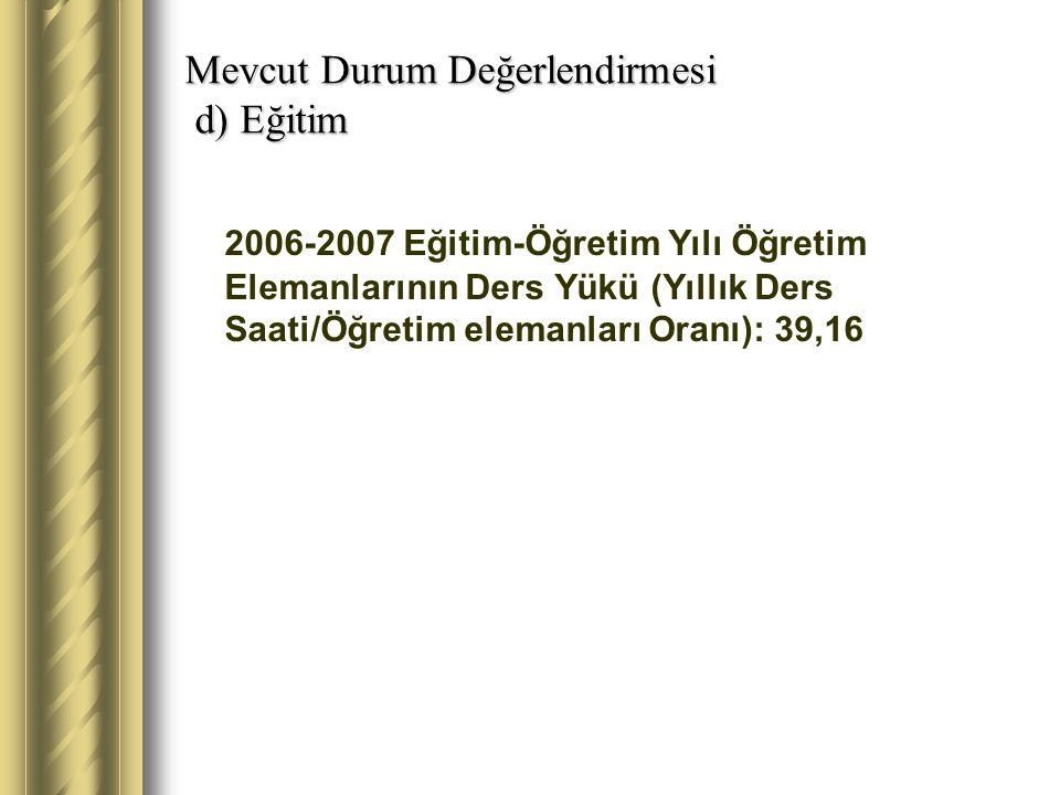 Mevcut Durum Değerlendirmesi d) Eğitim 2006-2007 Eğitim-Öğretim Yılı Öğretim Elemanlarının Ders Yükü (Yıllık Ders Saati/Öğretim elemanları Oranı): 39,16