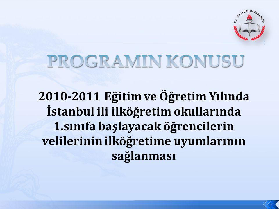 2010-2011 Eğitim ve Öğretim Yılında İstanbul ili ilköğretim okullarında 1.sınıfa başlayacak öğrencilerin velilerinin ilköğretime uyumlarının sağlanmas
