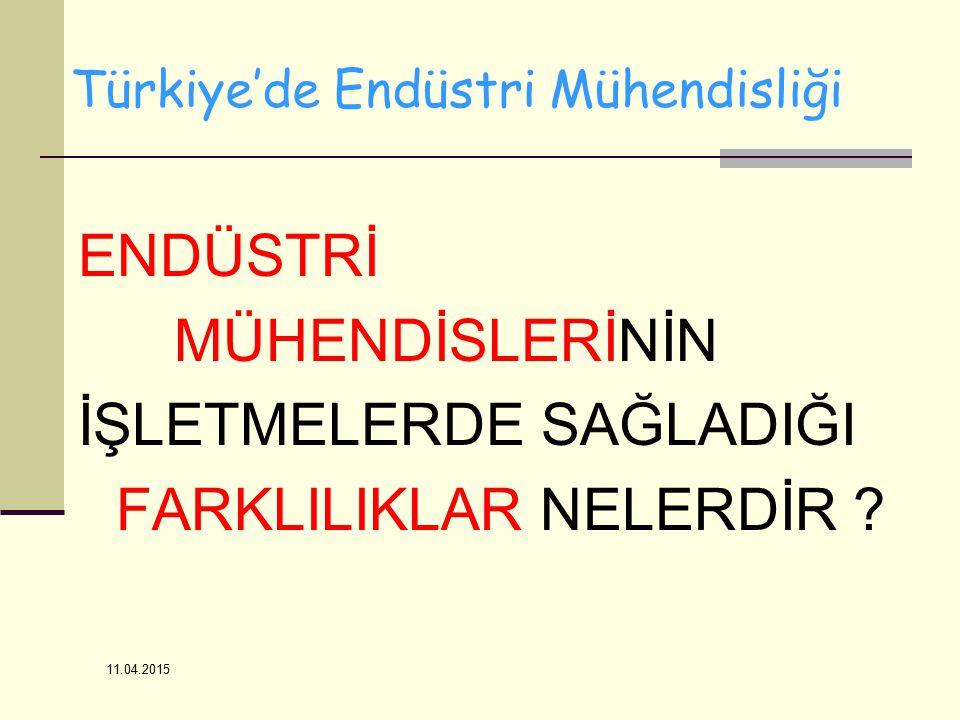 11.04.2015 ENDÜSTRİ MÜHENDİSLERİNİN İŞLETMELERDE SAĞLADIĞI FARKLILIKLAR NELERDİR ? Türkiye'de Endüstri Mühendisliği