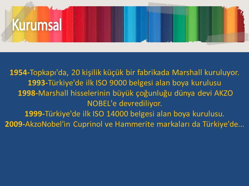 1954-Topkapı'da, 20 kişilik küçük bir fabrikada Marshall kuruluyor. 1993-Türkiye'de ilk ISO 9000 belgesi alan boya kurulusu 1998-Marshall hisselerinin