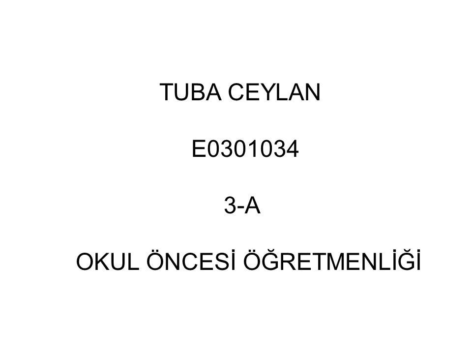 TUBA CEYLAN E0301034 3-A OKUL ÖNCESİ ÖĞRETMENLİĞİ