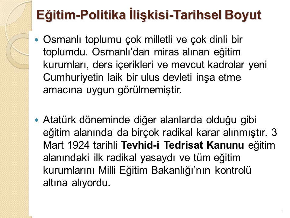 13 Eğitim-Politika İlişkisi-Tarihsel Boyut Osmanlı toplumu çok milletli ve çok dinli bir toplumdu. Osmanlı'dan miras alınan eğitim kurumları, ders içe