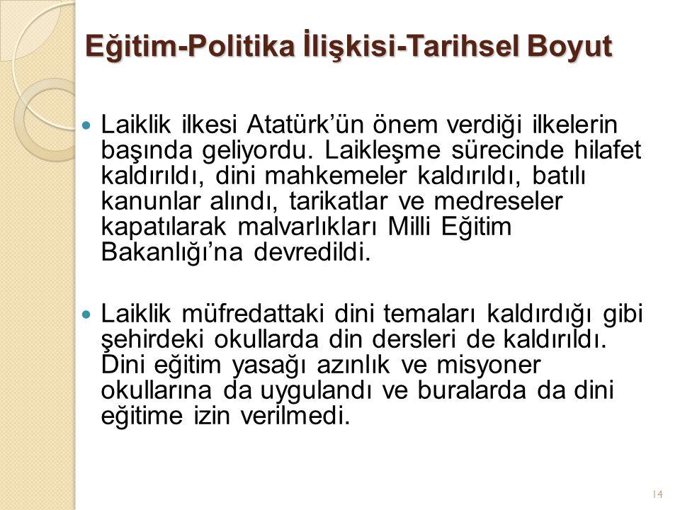 14 Eğitim-Politika İlişkisi-Tarihsel Boyut Laiklik ilkesi Atatürk'ün önem verdiği ilkelerin başında geliyordu. Laikleşme sürecinde hilafet kaldırıldı,