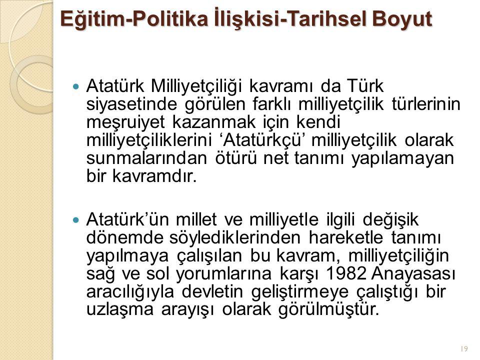 19 Eğitim-Politika İlişkisi-Tarihsel Boyut Atatürk Milliyetçiliği kavramı da Türk siyasetinde görülen farklı milliyetçilik türlerinin meşruiyet kazanmak için kendi milliyetçiliklerini 'Atatürkçü' milliyetçilik olarak sunmalarından ötürü net tanımı yapılamayan bir kavramdır.