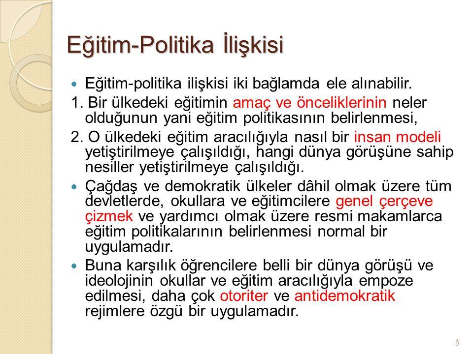 8 Eğitim-Politika İlişkisi Eğitim-politika ilişkisi iki bağlamda ele alınabilir.